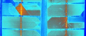 Solarní panel pod termokamerou
