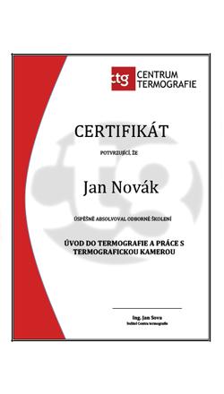 certifikát odborného školení v termovizi