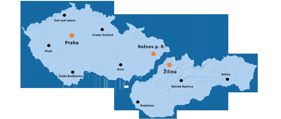 Mapa obchodního zastoupení společnosti FLIR v České a Slovenské republice