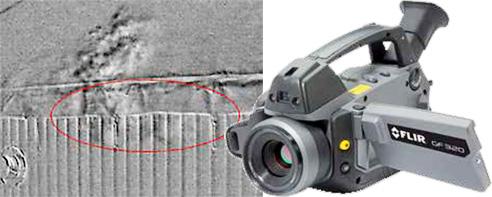 Pomocí termokamery pro detekci plynů lze získat kompletní obraz a okamžitě tak vyloučit oblasti, které nepotřebují žádnou další kontrolu. V důsledku toho lze docílit obrovských časových i finančních úspor. Zde je únik plynu zachycen ruční MWIR termokamerou.