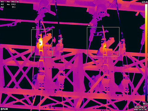 Comparing substation hinged cutouts - FLIR T1K IR Image