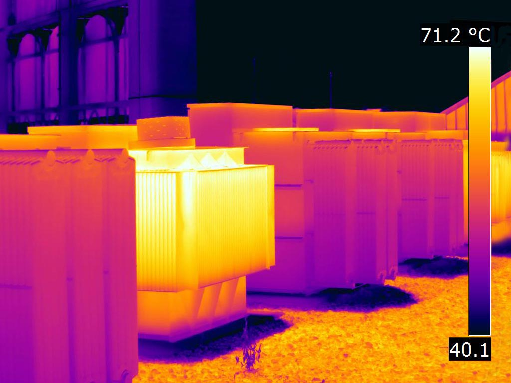Two mounted transformers under load - FLIR T1K IR Image